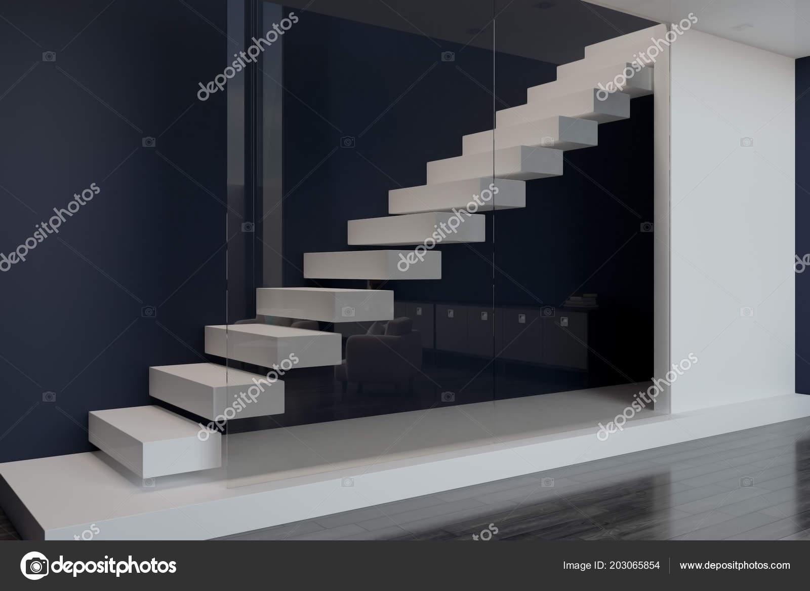 Blank white slab floors white stairs glass wall ini modern