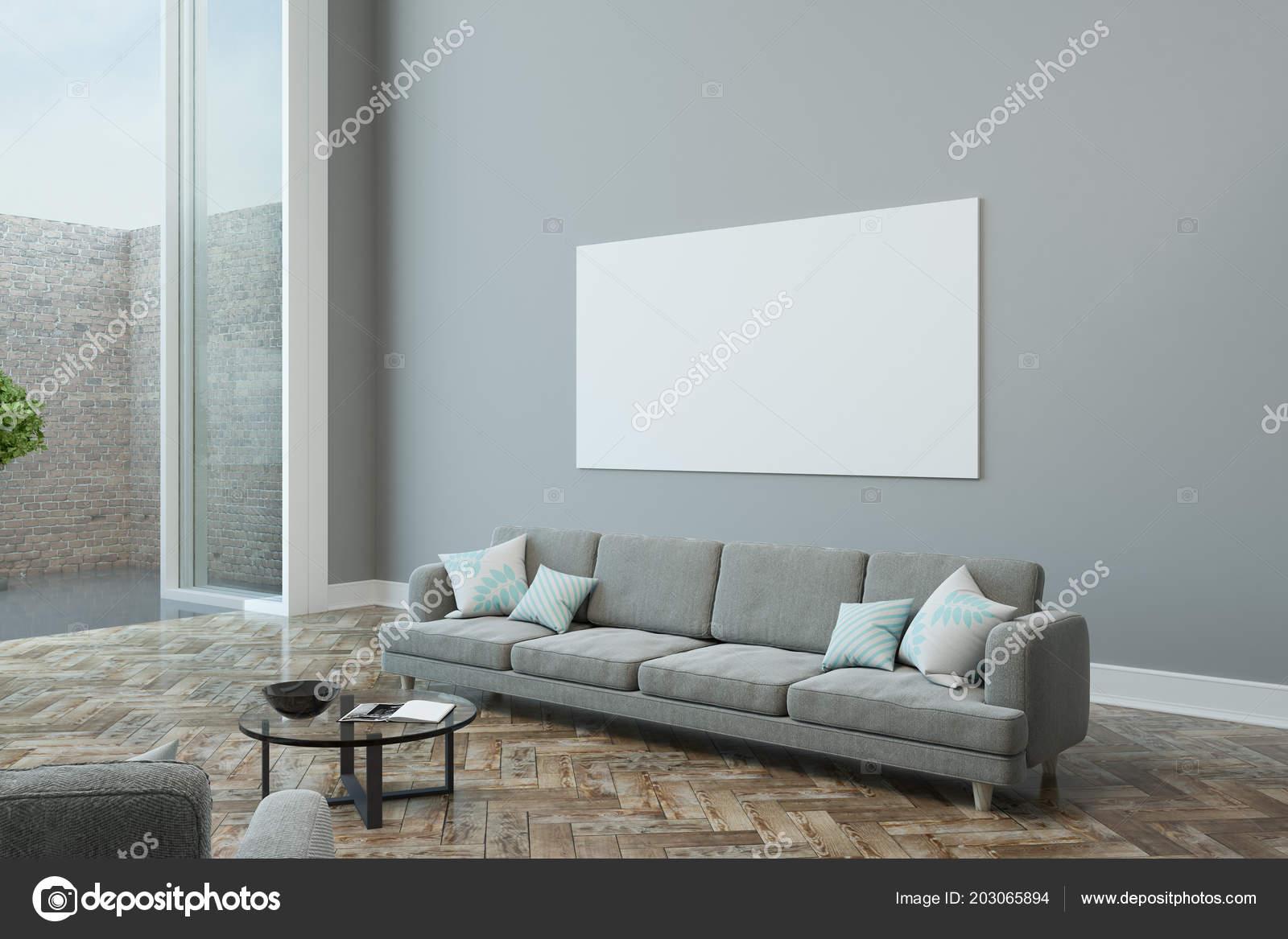 Grande Vierge Affiche Blanc Sur Mur Gris Dans Salon Moderne ...