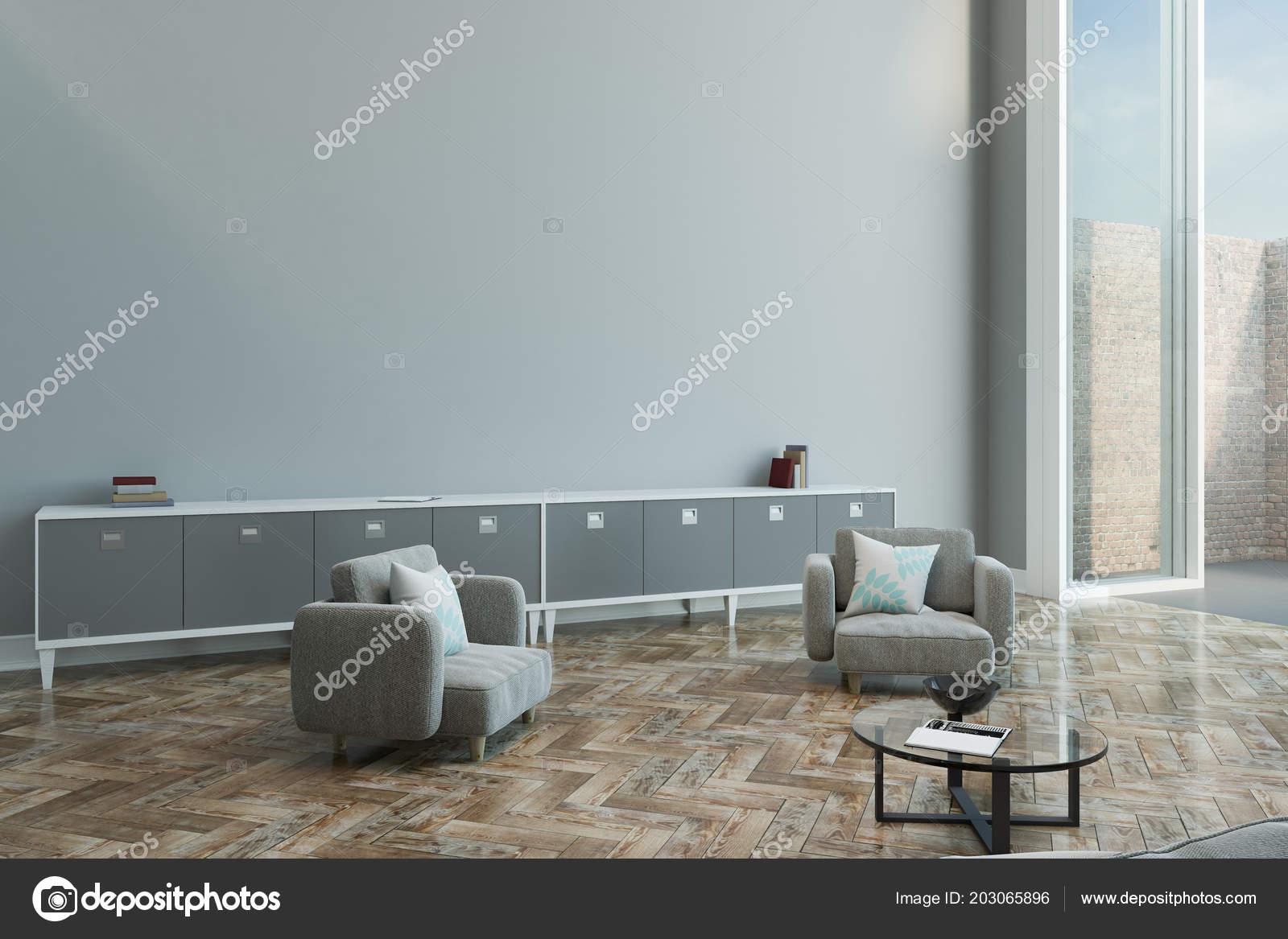 Empty Grey Wall Modern Living Room Parquet Grey Color