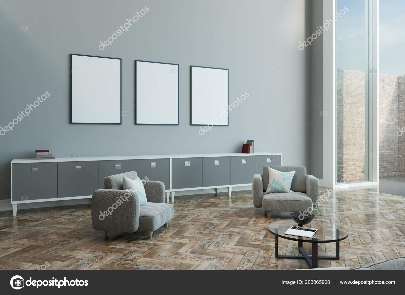 Grey Wooden Floor Living Room Three Blank Posters Light Grey Wall Modern Living Room Wooden Stock Photo C Peshkova 203065900