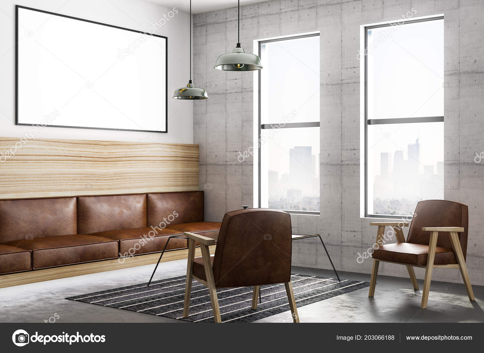 Blank poster on dark wall in modern loft style living room with vintage style leather furniture and city view 3d rendering photo by peshkova