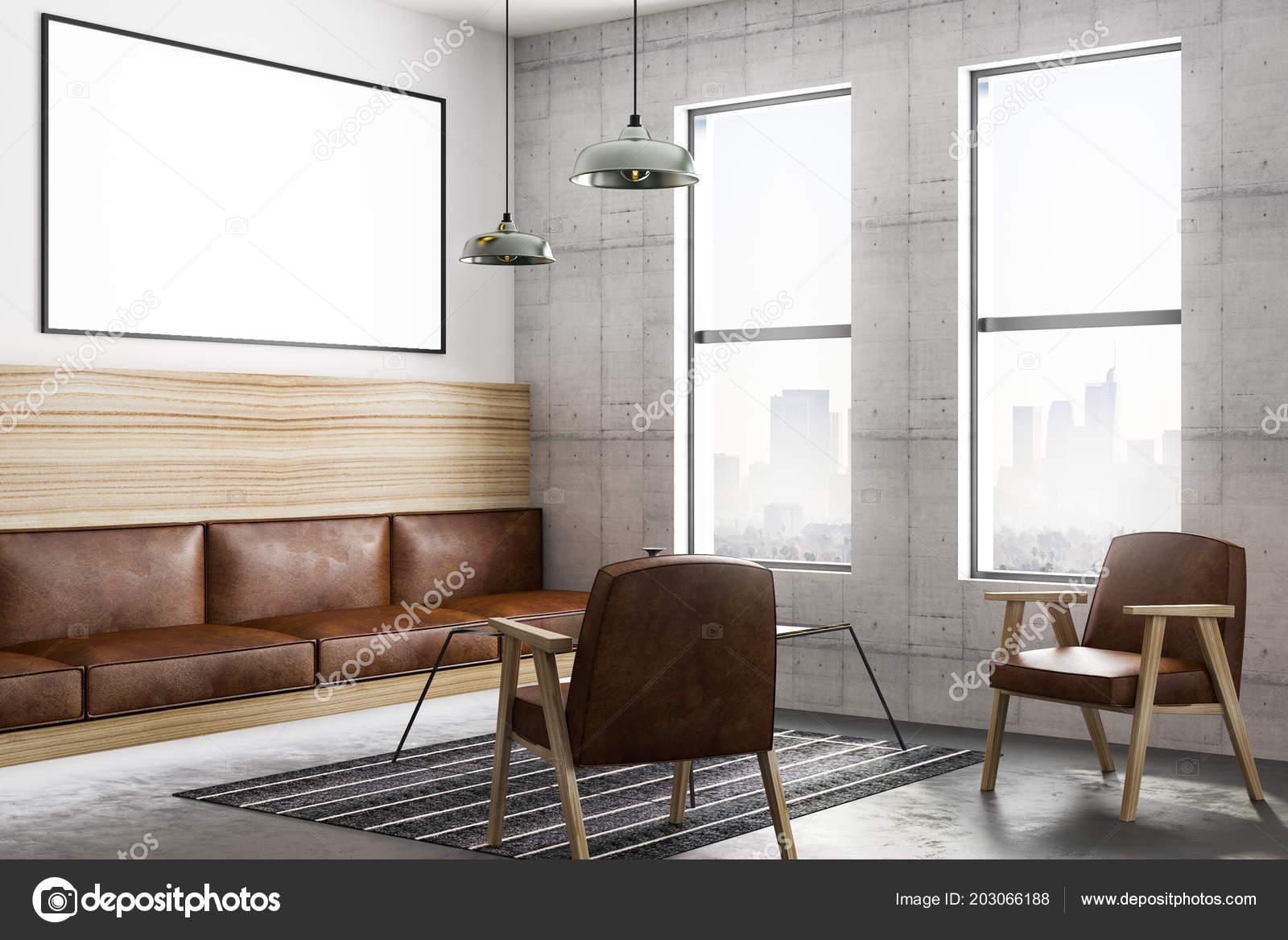 Donkere Vintage Woonkamer : Lege poster donkere muur moderne loft stijl woonkamer met uitzicht