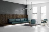 Moderní prostorný loft stylu obývací pokoj s emerald koženým nábytkem, velkými okny a výhledem na město. 3D vykreslování
