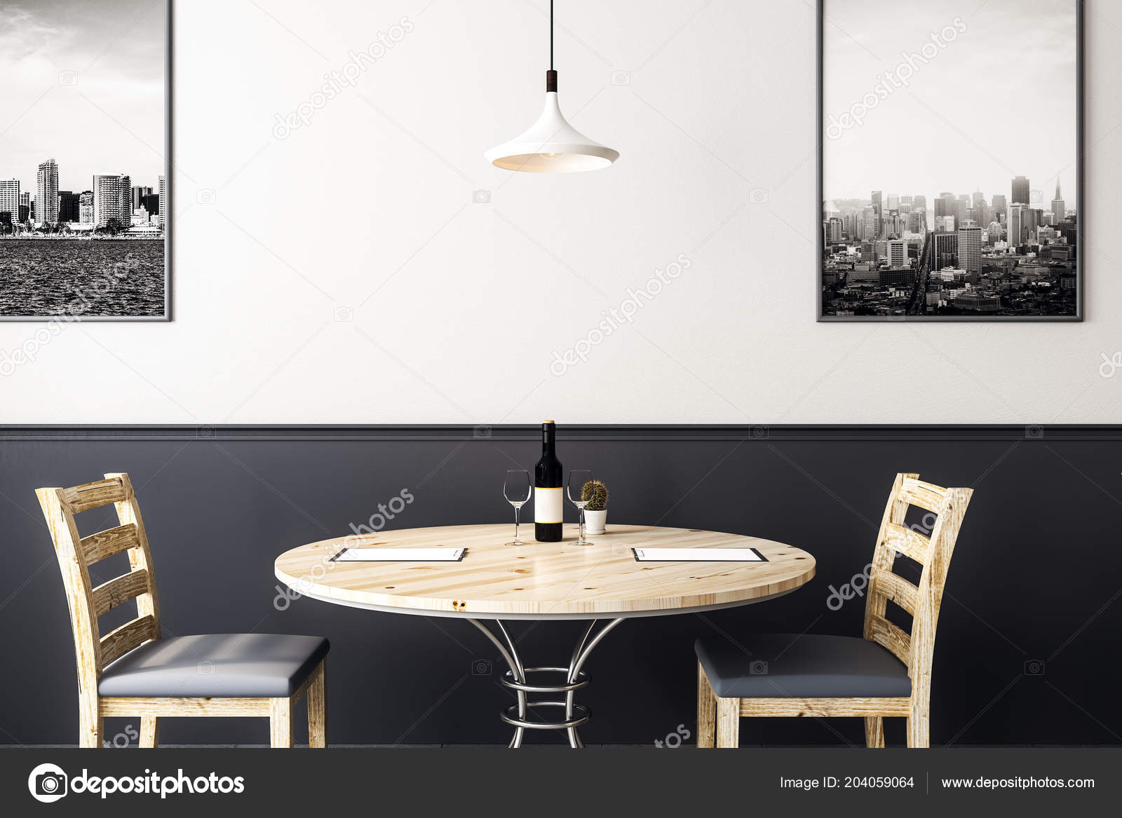 Twee houten stoelen met ronde tafel met fles wijn modern