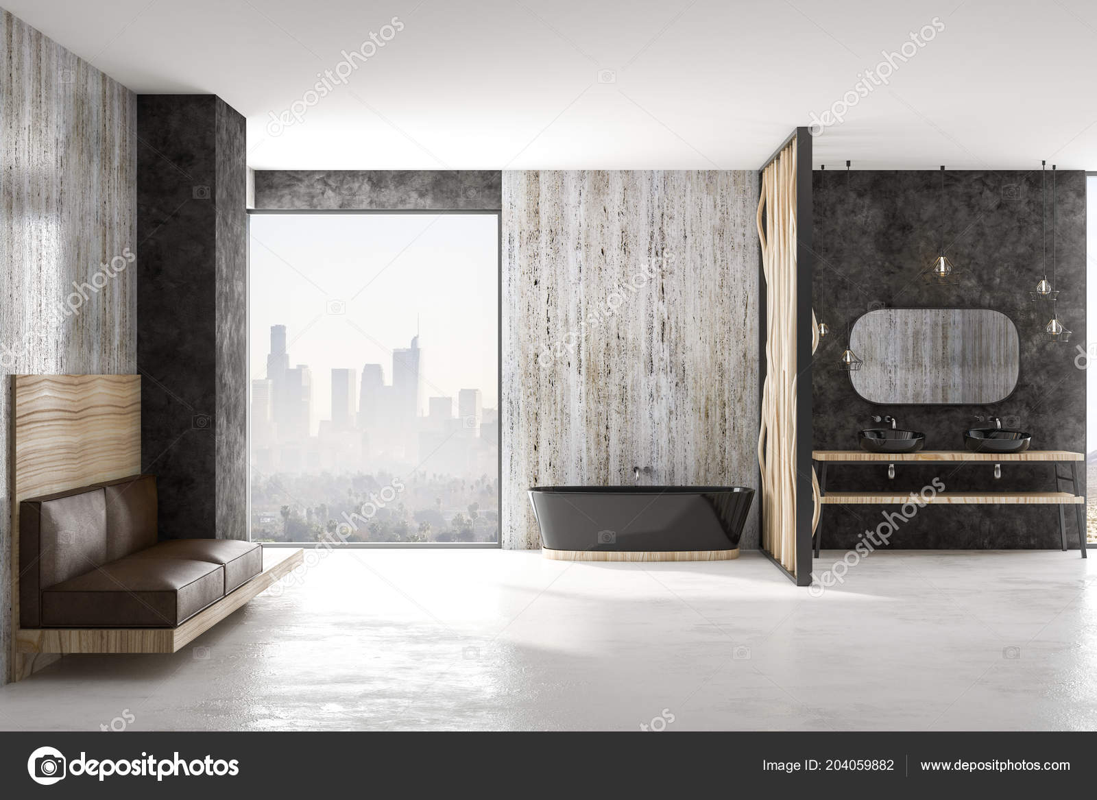 Design Bagno Moderno : Design bagno moderno con vasca nera pavimento cemento divano pelle