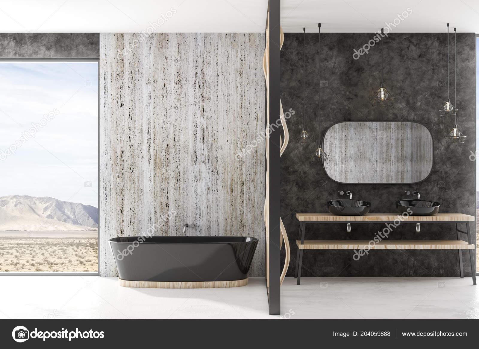 Bagno Design Moderno Con Bagno Nero Pavimento Cemento Pareti Pietra ...