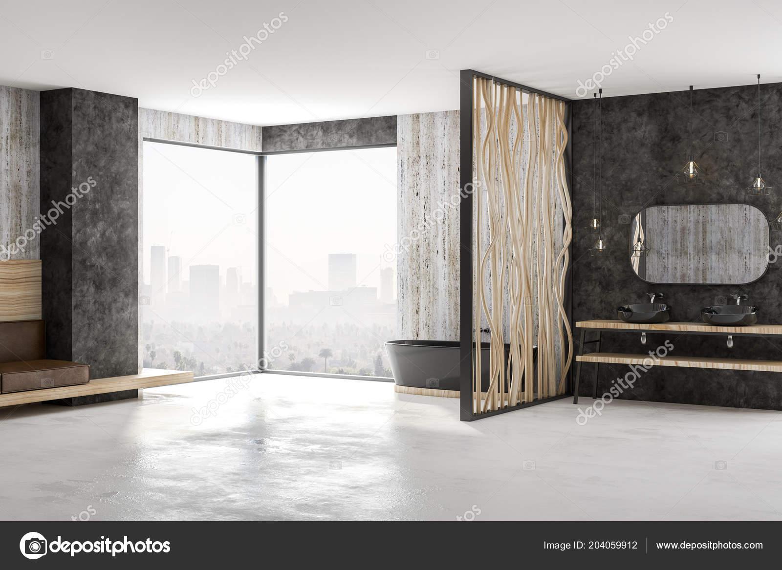Dise o ba o moderno con ba era negra piso concreto paredes for Pared de bano de concreto encerado
