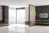 moderní koupelnový design s černou vanou, betonovou podlahu, kamennými zdmi a výhled z okna, podlahy až ke stropu. 3D vykreslování
