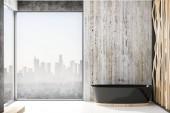Fotografie Výhled z okna moderní koupelnu s černými koupel. 3D vykreslování