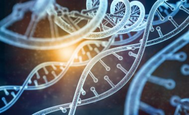 model of human DNA (3d-model) at abstract dark with light background. 3d rendering