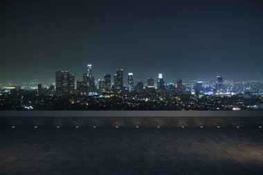 night panoramic skyline and buildings with empty concrete floor. 3d rendering