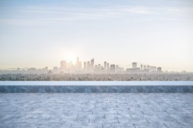 panoramic skyline and buildings with empty concrete floor. 3d rendering