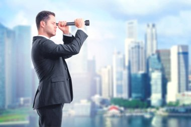 Look into the future concept with businessman looking through a telescope at blured city background stock vector
