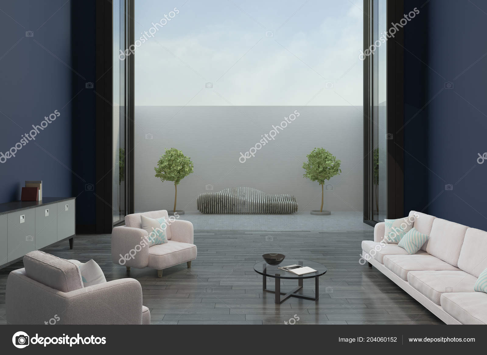 Modern Living Room Wooden Floor Blue Walls Great View ...