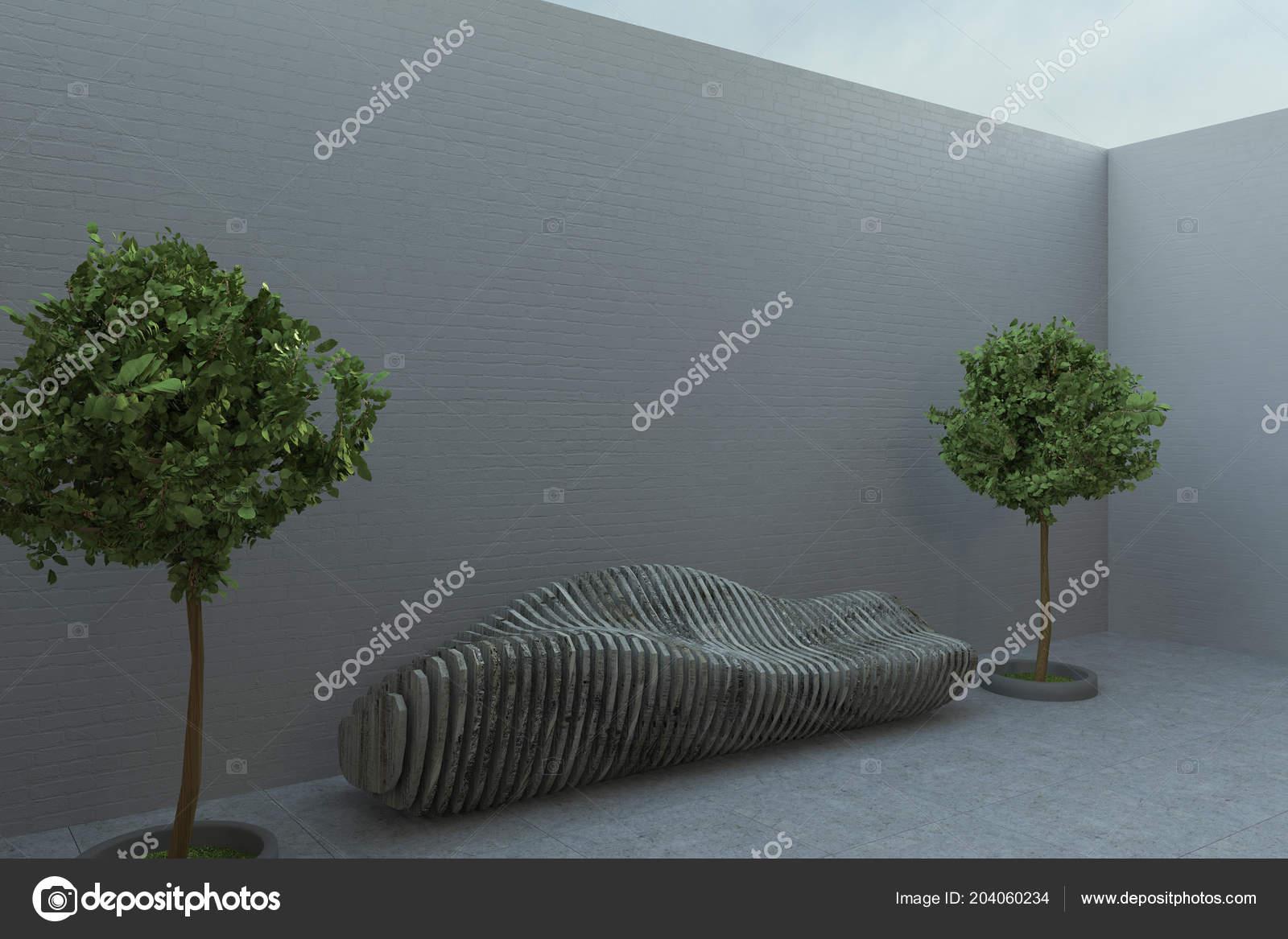 Houten Bankje Grijs.Zijaanzicht Futuristische Houten Bankje Tussen Twee Bashes Potten