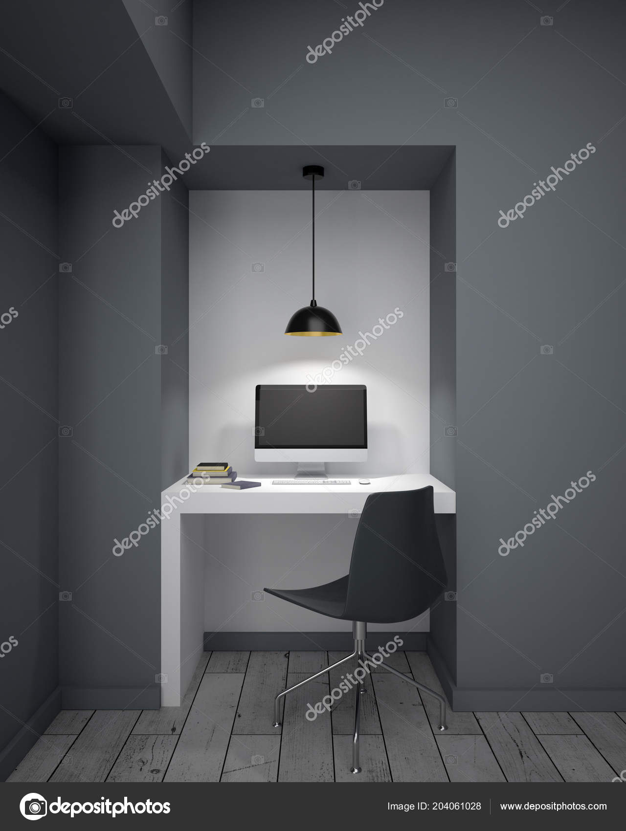 Image of: Mockup Black Computer Monitor White Desk Modern Room Grey Walls Stock Photo C Peshkova 204061028