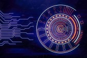 technology circle button on blue abstract background with glowing line circuit board. Business and connection. Futuristic concept. Internet cyber and network theme. 3d rendering