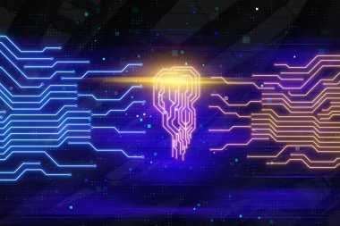 artificial intelligence concept with electronic computer technology circuit board brain shape or emblem background. 3d rendering