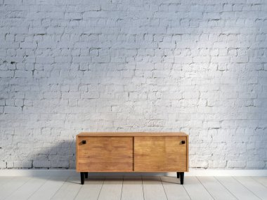 vintage wooden commode on light wooden floor at light brick wall background. 3d rendering