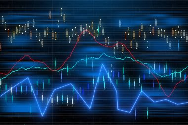 business chart with uptrend line graph and bar chart on dark background. 3d rendering