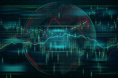 Arka plan borsa grafik ve forex harita verileri finans ve küresel finansal piyasalar dünya kavramı. 3D render