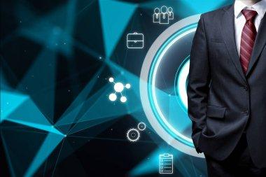 businessman at digital global network background