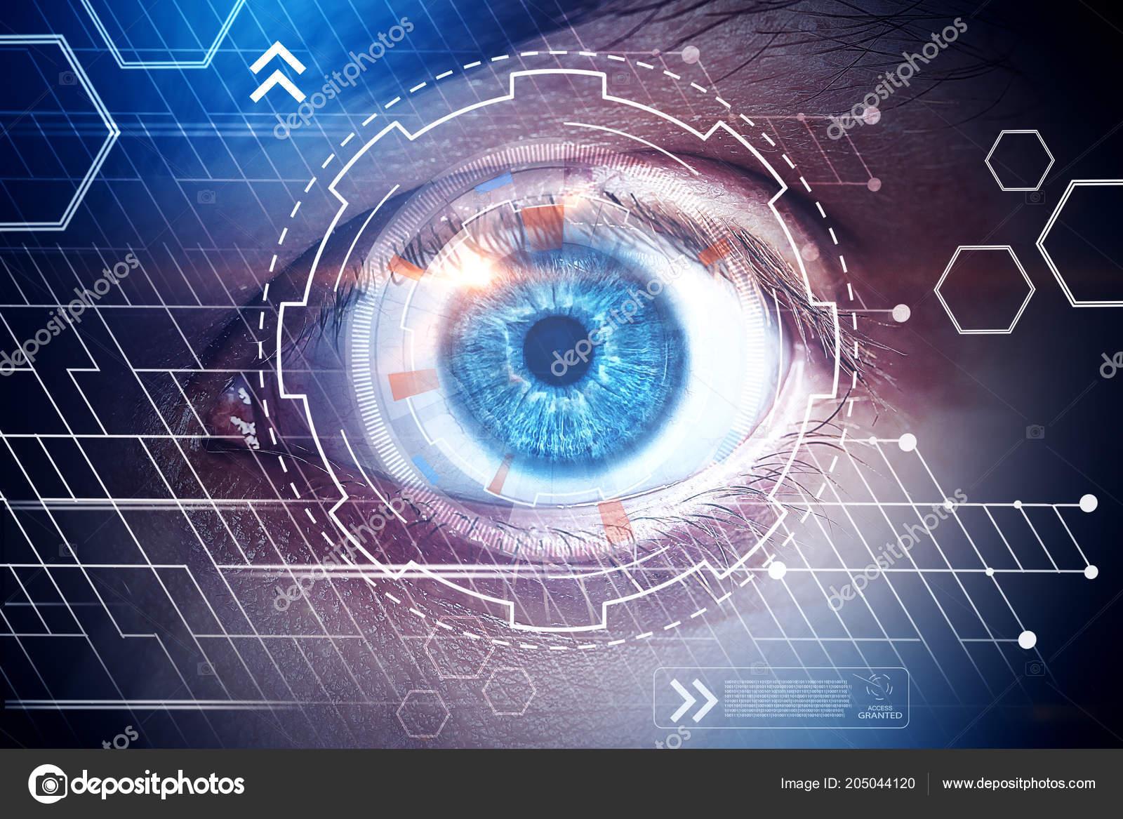 Close Eye Digital Business Interface Biometrics Tech Concept