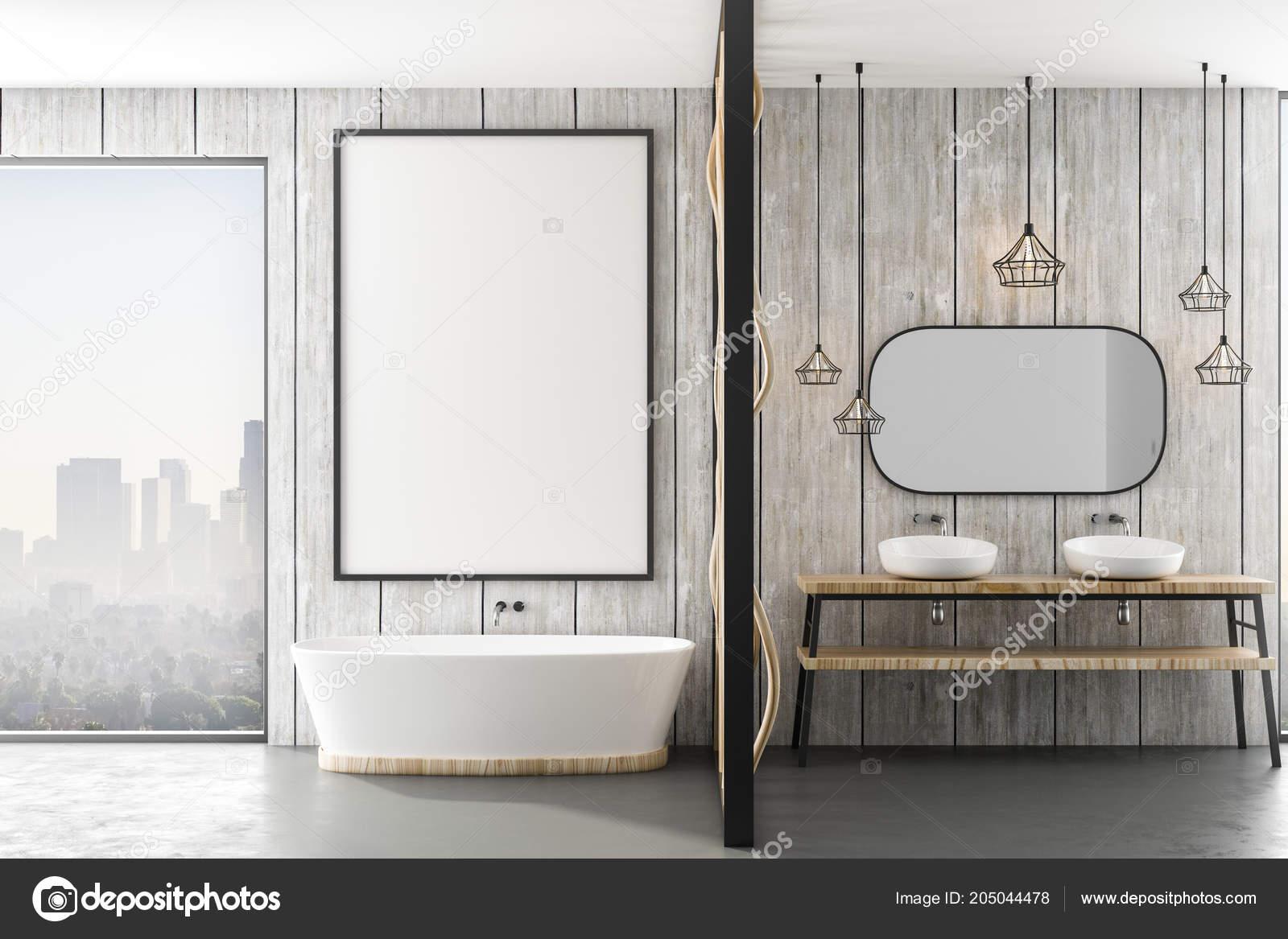 Mockup witte poster houten muur badkamer van moderne loft met