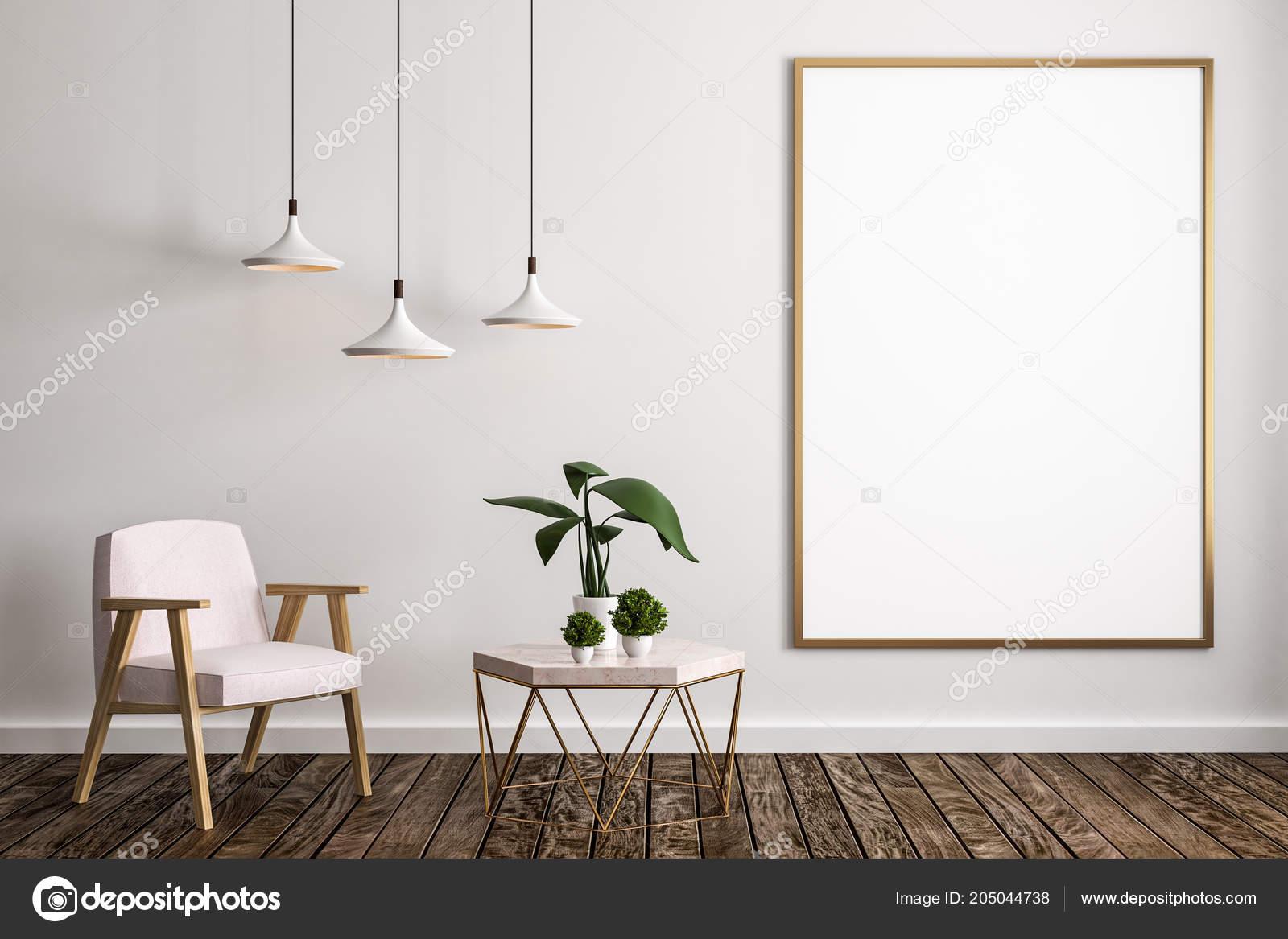 Moderne Wohnzimmer Einrichtung Mit Möbel Dekorative Pflanze Lampen ...