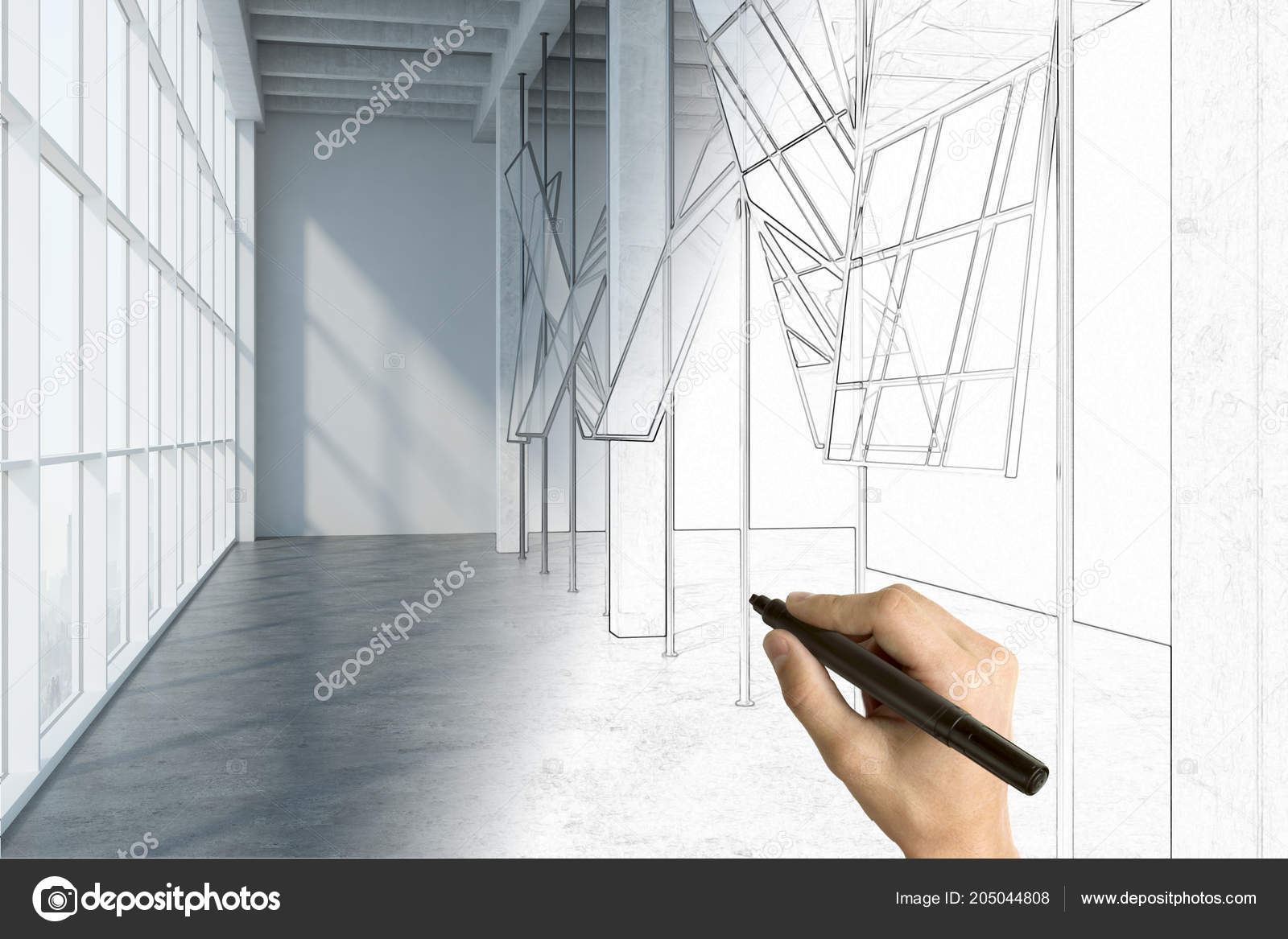 Hand Drawing Modern Office Interior Design Workplace Concept