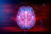 Creative digital brain background. Artifical intelligence and future concept. 3D Rendering