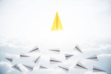 Leadership and ceo concept. Creative paper plane in sky with daylight. 3D Rendering