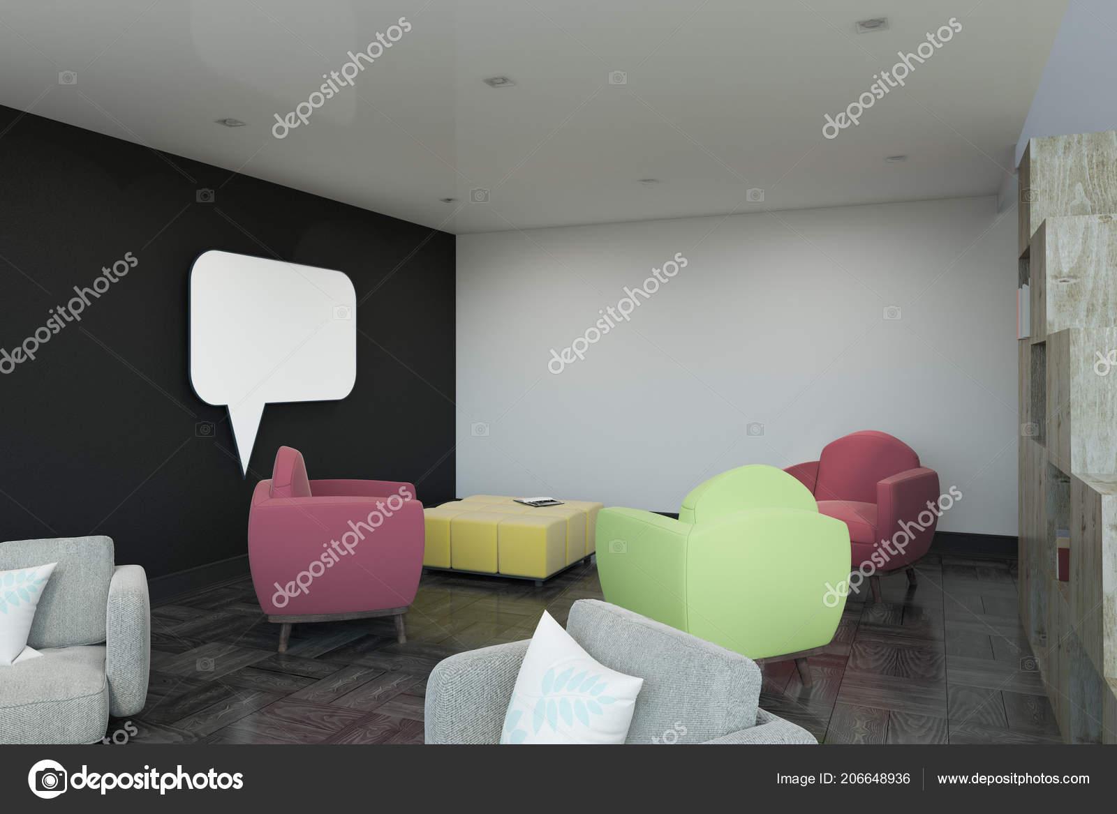 Sillones Coloridos.Interior Moderno Con Sillones Coloridos Ventana Chat Pared