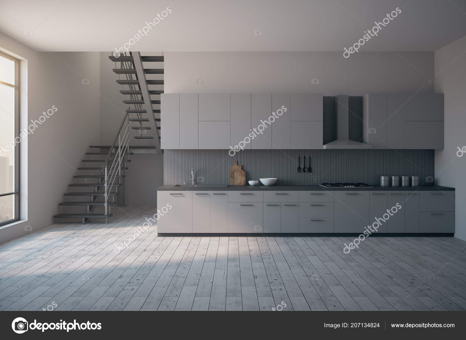 Loft keuken interieur met trappen stadszicht daglicht meubilair