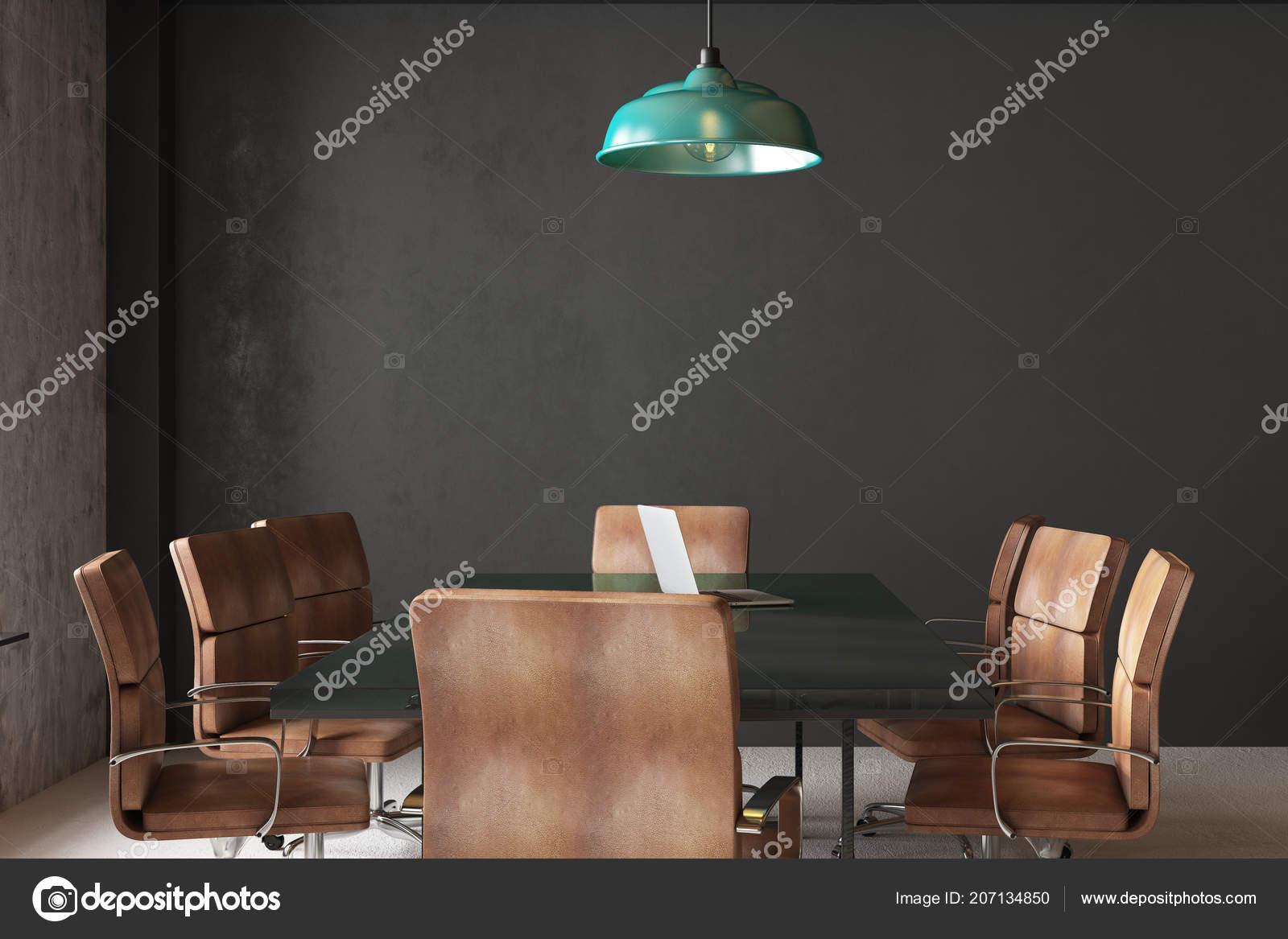 Moderne konferenzzimmer interieur mit betonmauer möbel und lampen