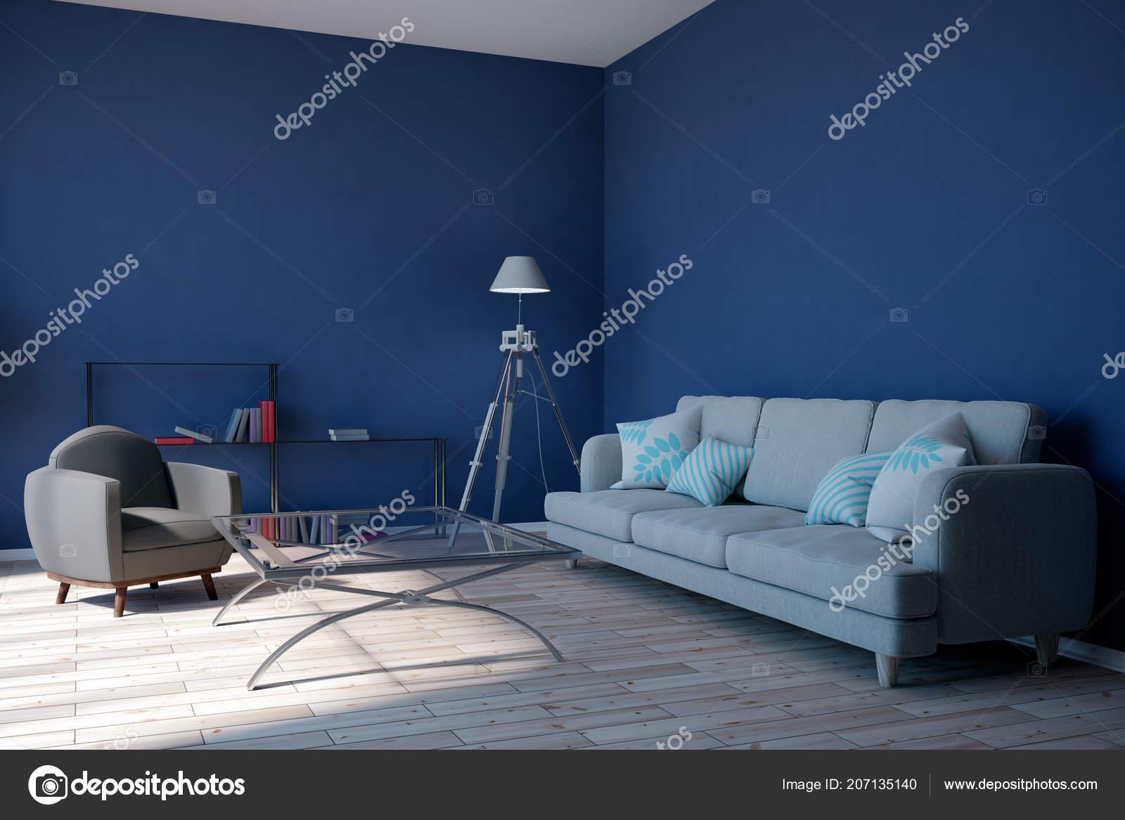 Moderne Blaue Wohnzimmer Einrichtung Mit Möbeln Und ...
