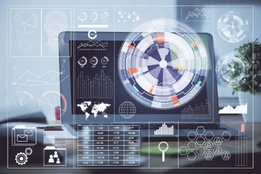 Double exposure of computer and technology theme hud. Concept of innovation. stock vector