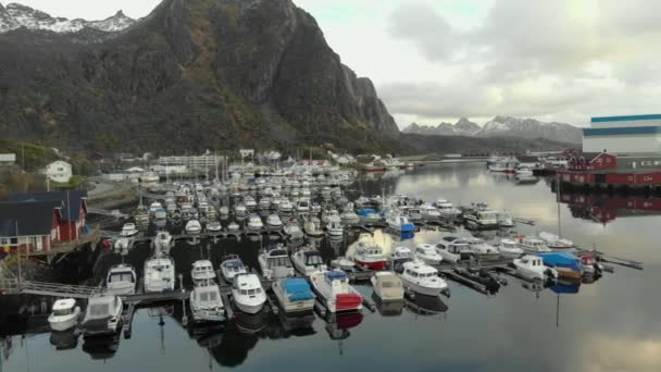 Amazing top view of harbor with wonderful white boats and yachts. Norway.