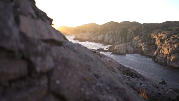 Amazing view of sunset over the rocks and the North sea on the most southern point of Norway