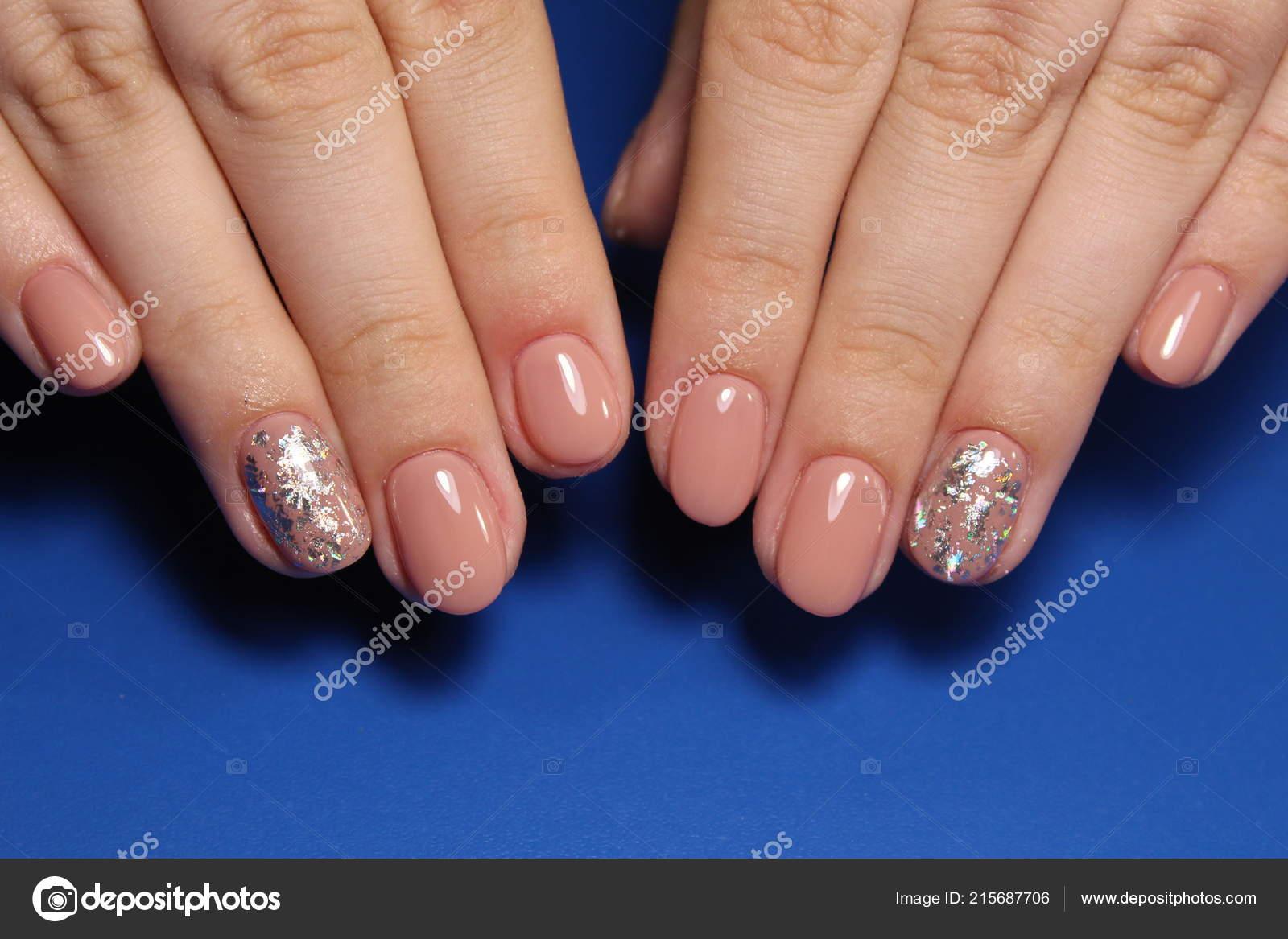 Stylish Manicure Nails Color Black Silver Stock Photo