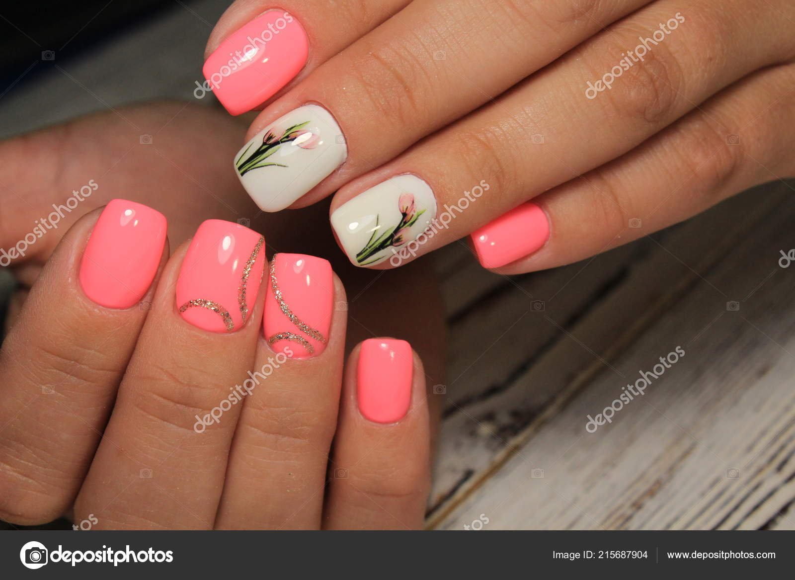 Youth Manicure Design Best Nails Gel Varnish Stock Photo
