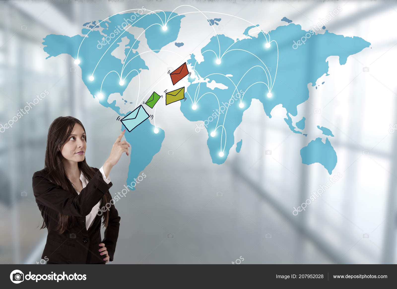 Business Woman Email World Map — Stockfoto © carballo #207952028