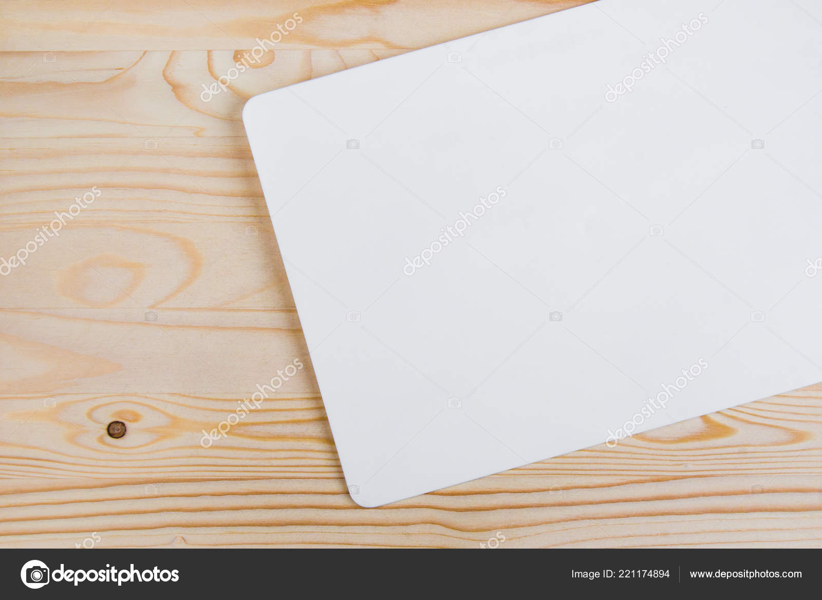 Clean White Sheet Rounded Edges Light Colored Wooden