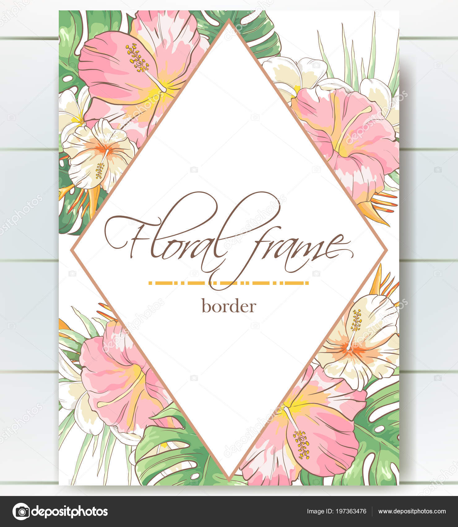 Vector delicate invitation with hibiscus flowers and palm leaves for ...
