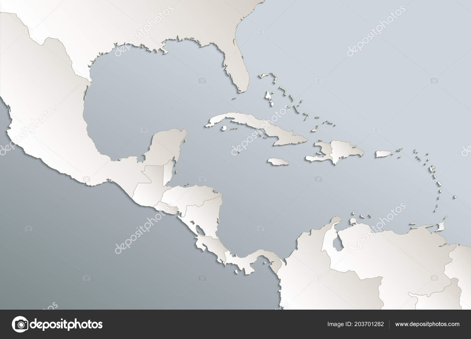Caribbean Islands Central America Map State Names Separate ...
