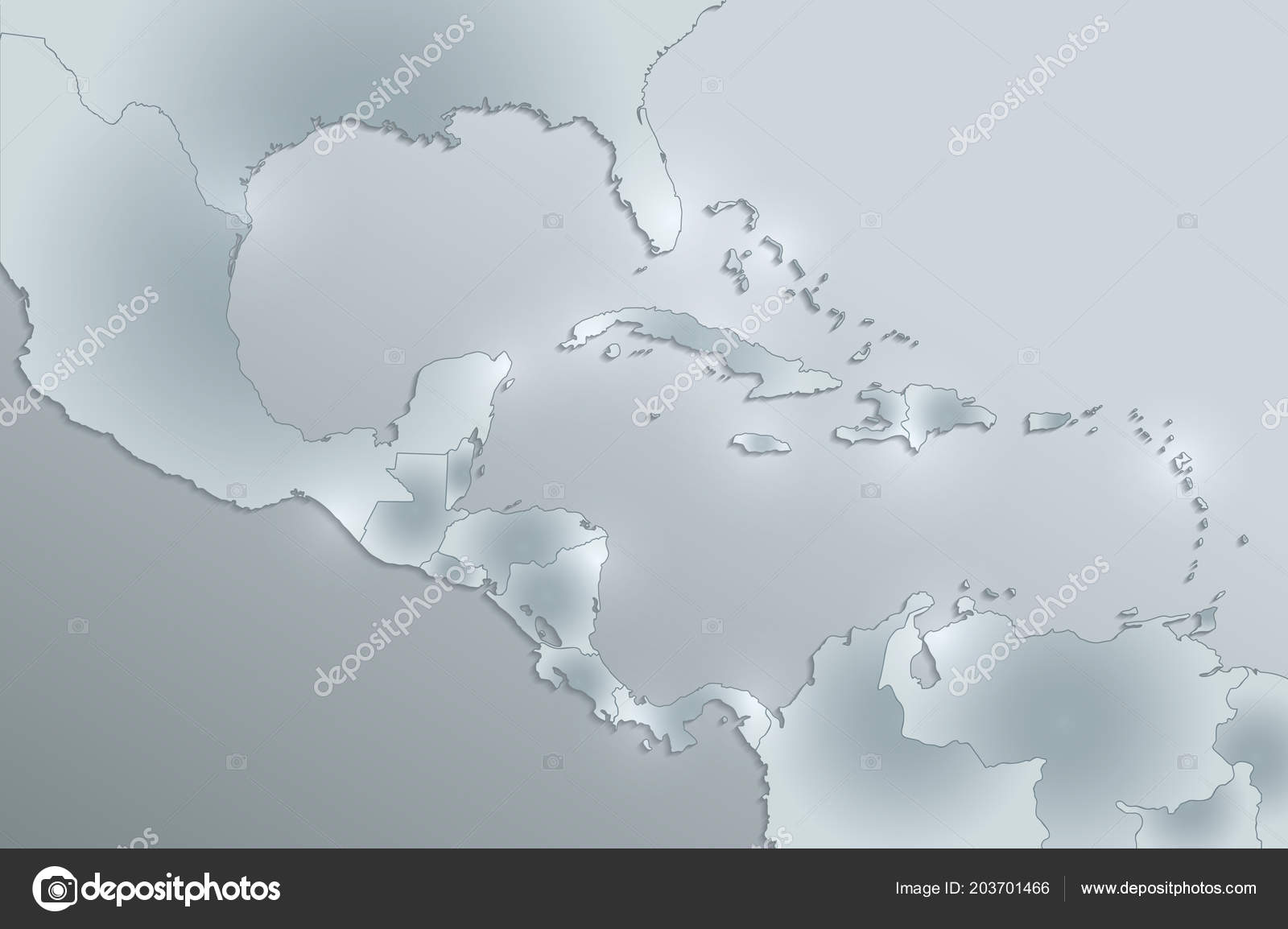 Caribbean Islands Central America Map State Names Separate States ...