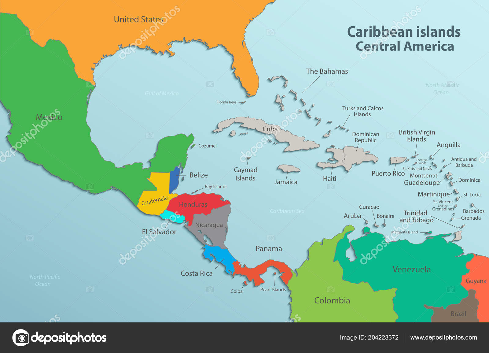 Caribbean Islands Central America Map State Names Card Colors Vector ...