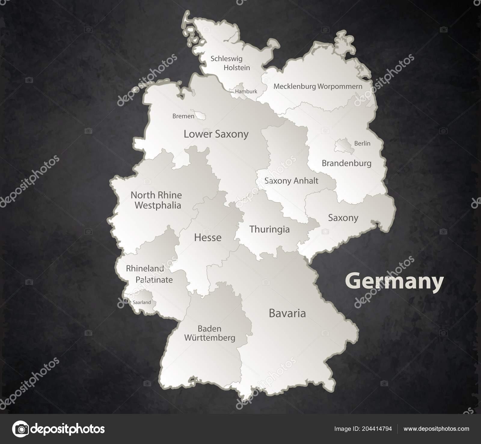 5f316cb7502f54 Deutschland Karte Schwarz Weiß Separate Region Individuelle Namen  Blackboard Vektor– Stockillustration