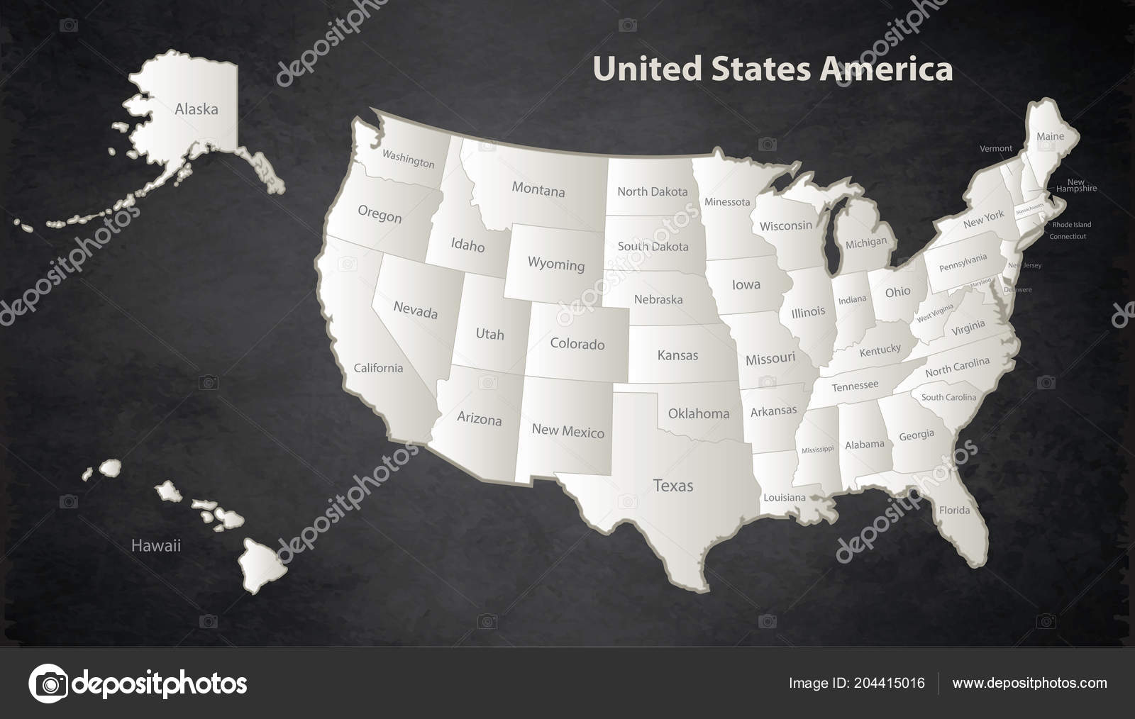 Usa Map Alaska Hawaii Map Black White Separate States Individual ...