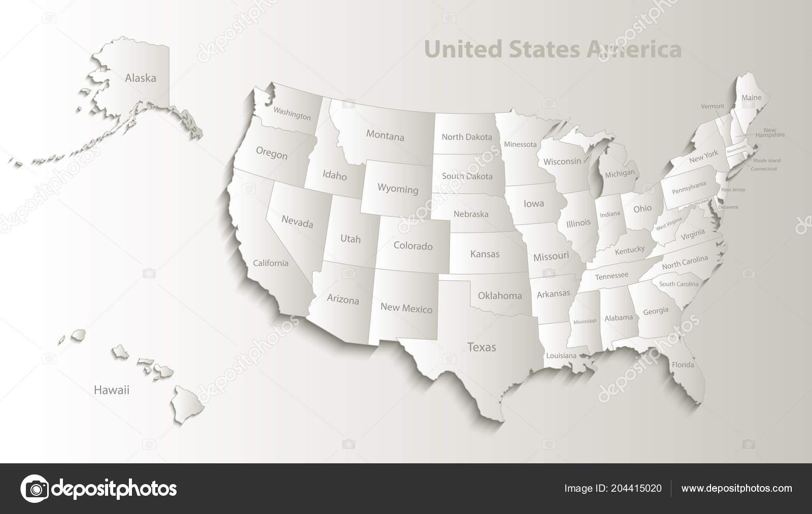 Karte Der Usa Mit Alaska Und Hawaii Karte Separate Staaten ...